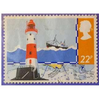 Stamp UK Great Britain 1985 Safety at Sea Beachy Head Lighthouse and Chart 22p
