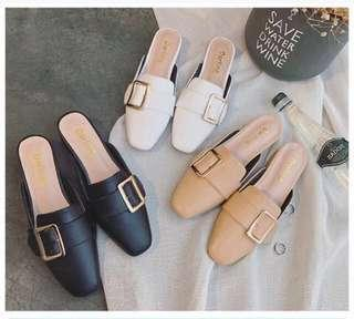 [PO] Basic Gold Buckle Square Toed Slip Ons / Mules