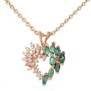 Beautiful Estate Diamond Emerald 14K Yellow Gold Cluster Heart Pendant