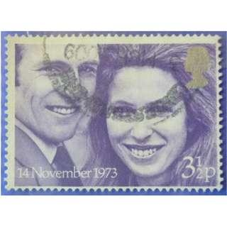 Stamp UK Great Britain 1973 Wedding of Princess Anne and Captain Mark Philips 3 1/2p