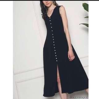 Hollyhoque Bora Button Down Midi Dress (Black, Size L)