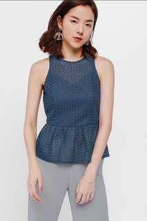 Lovebonito Caria Crochet Overlay Peplum Top (Steel Blue, Size M)