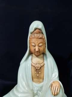 Old cedalon glazed porcelain image of Guang Yin.