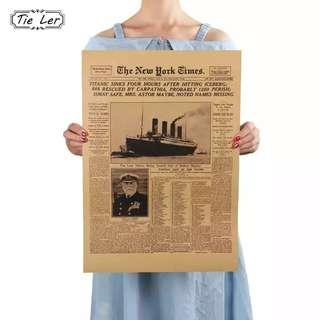 #OCT10  The New York Times History Poster Titanic Shipwreck Old Newspaper