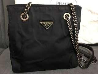 Preloved Prada Tessuto Nylon Crossbody Shoulder Chain Bag
