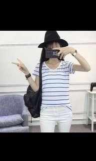 Blue and white stripe shirt top