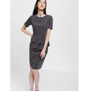 Lovebonito Amayn Pinstripe Asymmetrical Ruffle Dress (Grey, Size M)