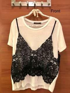 Lace fake two pieces top