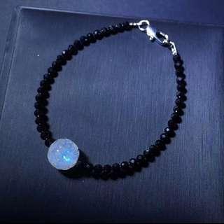 黑尖晶 月亮石回紋珠