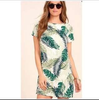 New Leaves printed bodycon dress