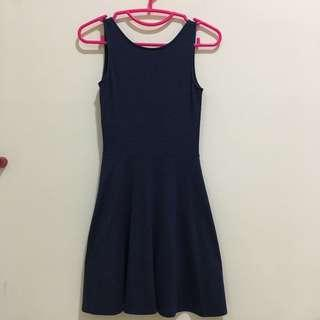 Navy blue v back dress