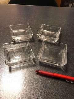 一套四隻 簡潔 餐具 玻璃 醬油碟 方形碟