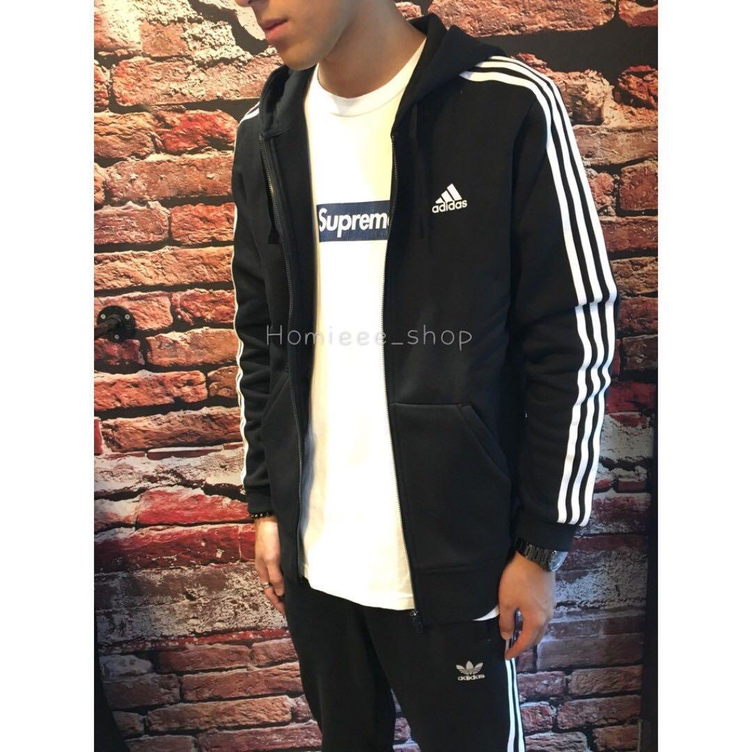 Contabile scadenza fardello  Adidas Essentials 三線連帽外套黑色B47368, 他的時尚, 外套在旋轉拍賣