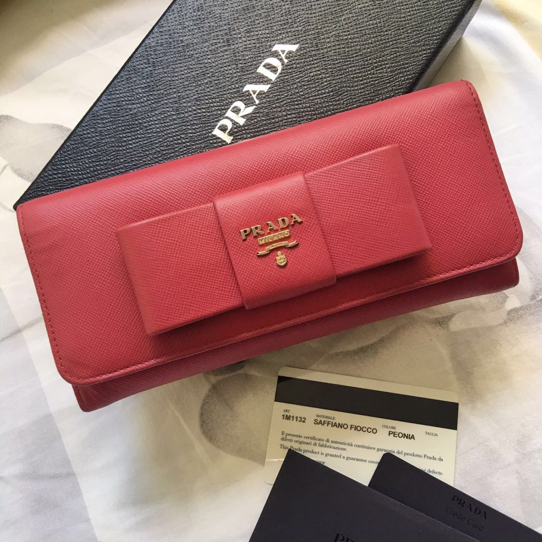 fa95418bead550 Authentic PRADA Saffiano Bow Long Wallet, Luxury, Bags & Wallets ...
