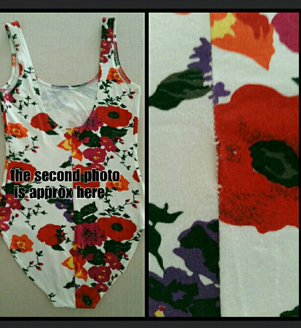 bodysuit leotard floral singlet festival low back S 8