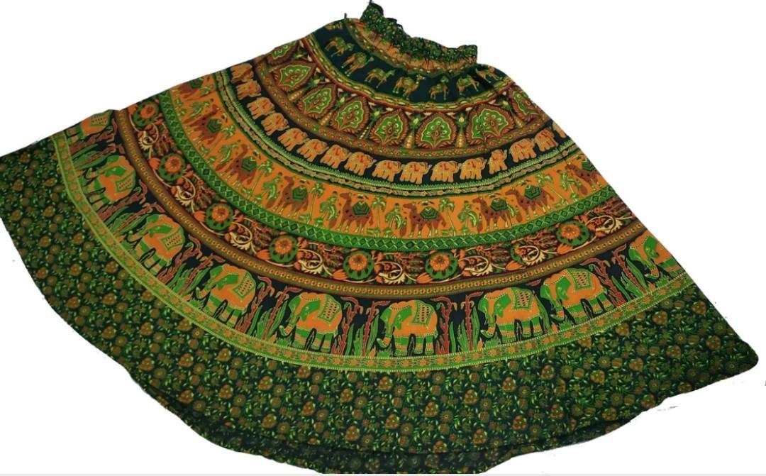 Boho Hippie Indian Animal Print Skirt