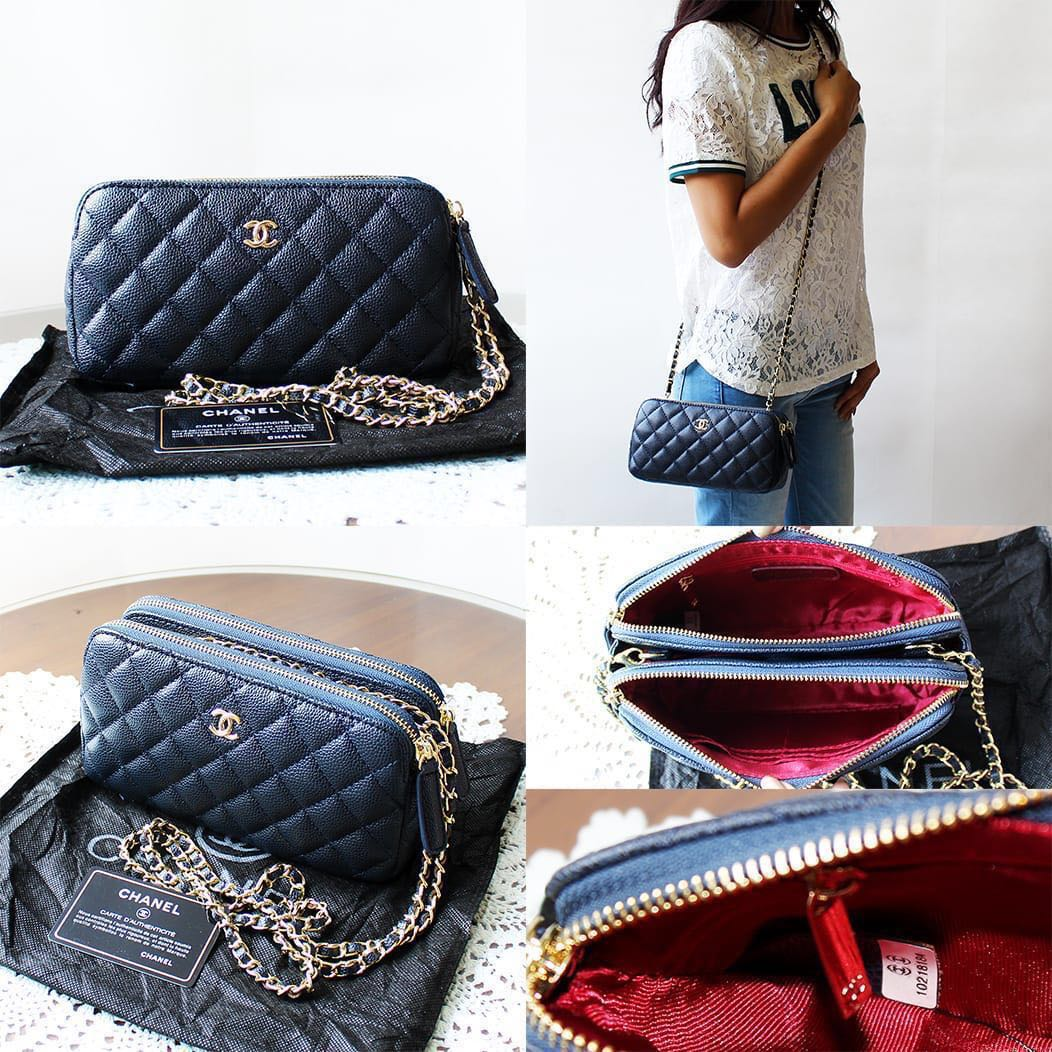 4e25bb4d5799 C Double Zip Chain Sling Bag 🌸, Women's Fashion, Bags & Wallets, Sling Bags  on Carousell