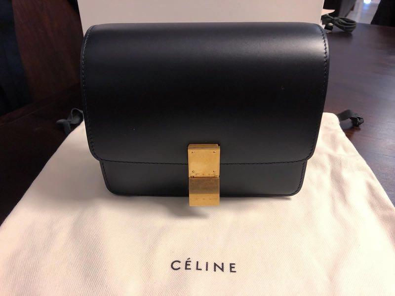 358f172cfb7d8 Céline Small Classic Box Bag in Black (Old Phoebe Philo Logo ...