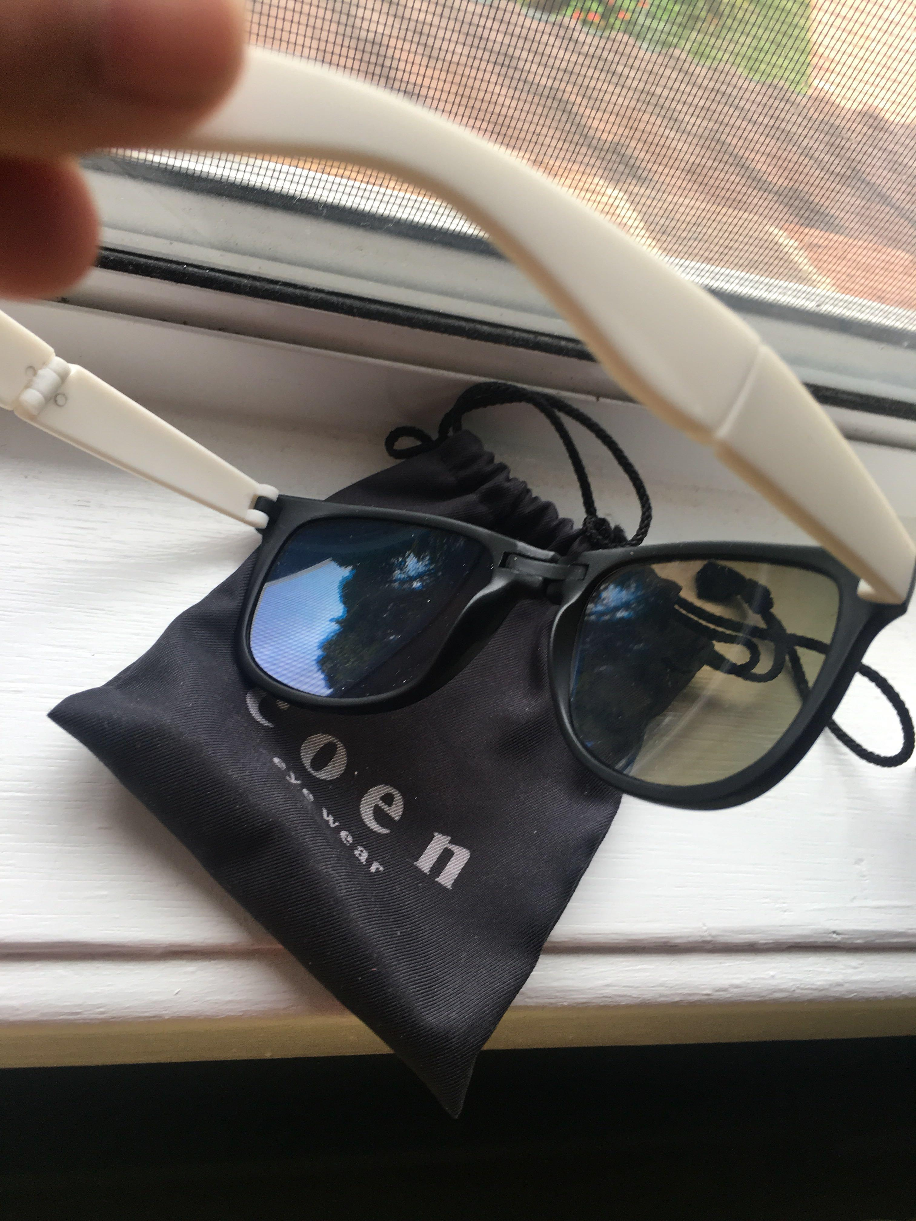 Coen japanese brand foldable sunglasses with blue tint