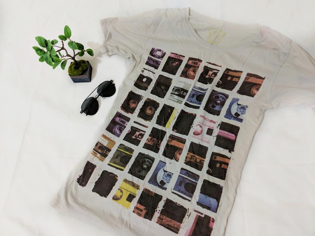 Colourful rainbow music stereo graphic print shirt top