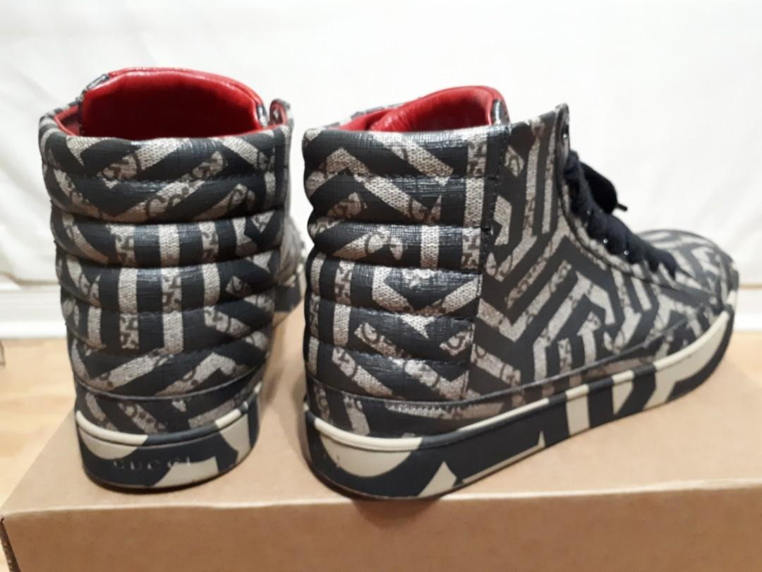 Gucci Gg Caleido High-Top, Brown/Black Mens Sneaker Size 9.5M