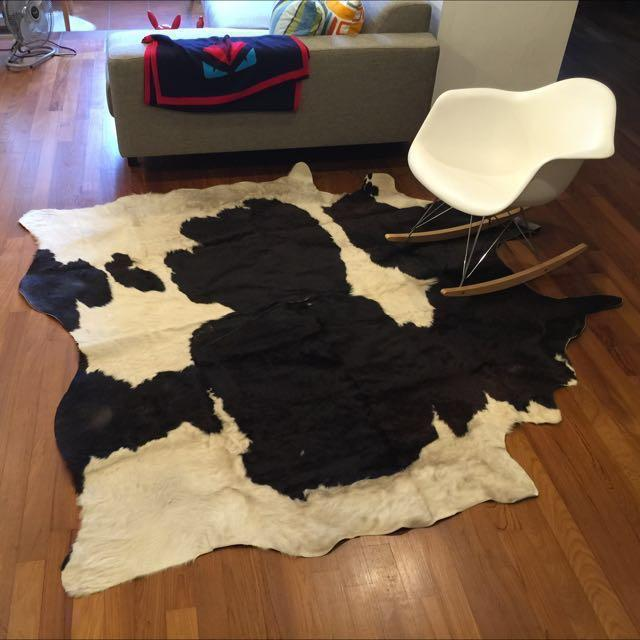 Ikea KOLDBY Cow Hide Black / White