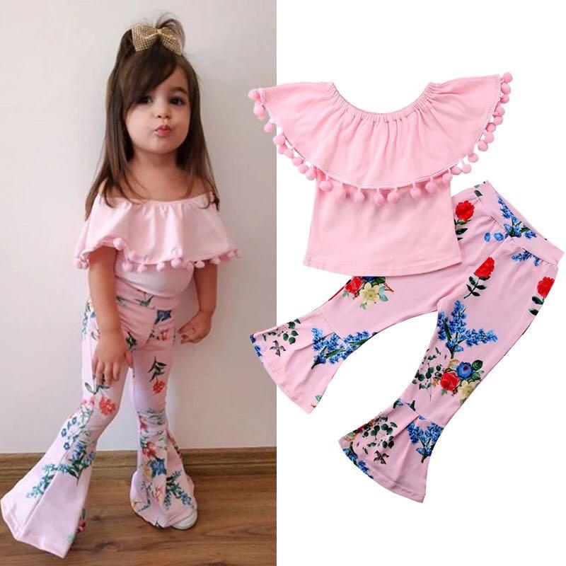7827e759386567 Kids Off Shoulder Top Floral Pants