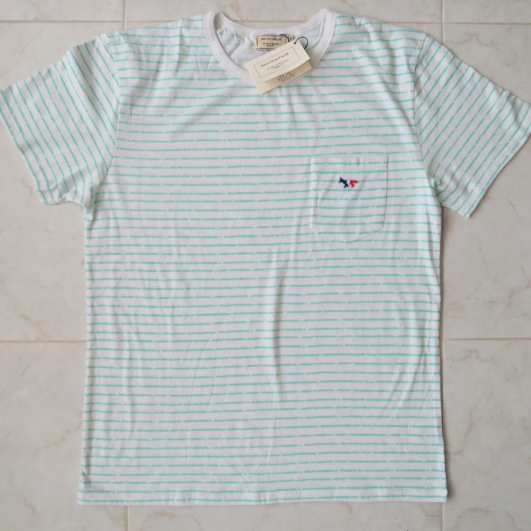 681180084 Maison Kitsune Signature Tri Fox Logo Faded Stripes T-Shirt, Men's ...