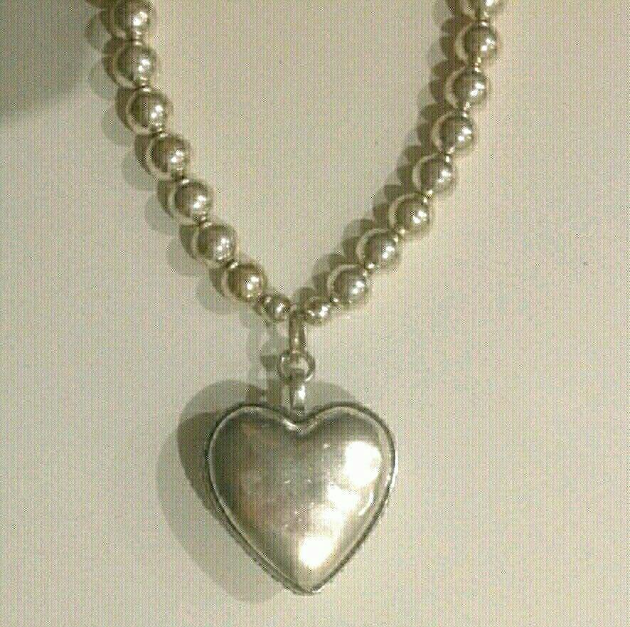 NEW never worn CHUCKY like SILVER beaded NECKLACE large HEART