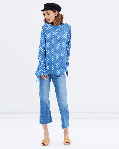 NEW- oversized blue and white spot shirt with lace up sleeves