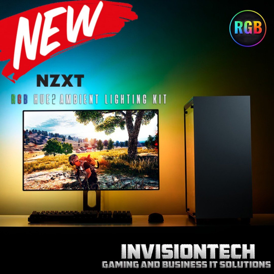Nzxt Hue 2 Rgb External Ambient Lighting Kit For Monitors Table