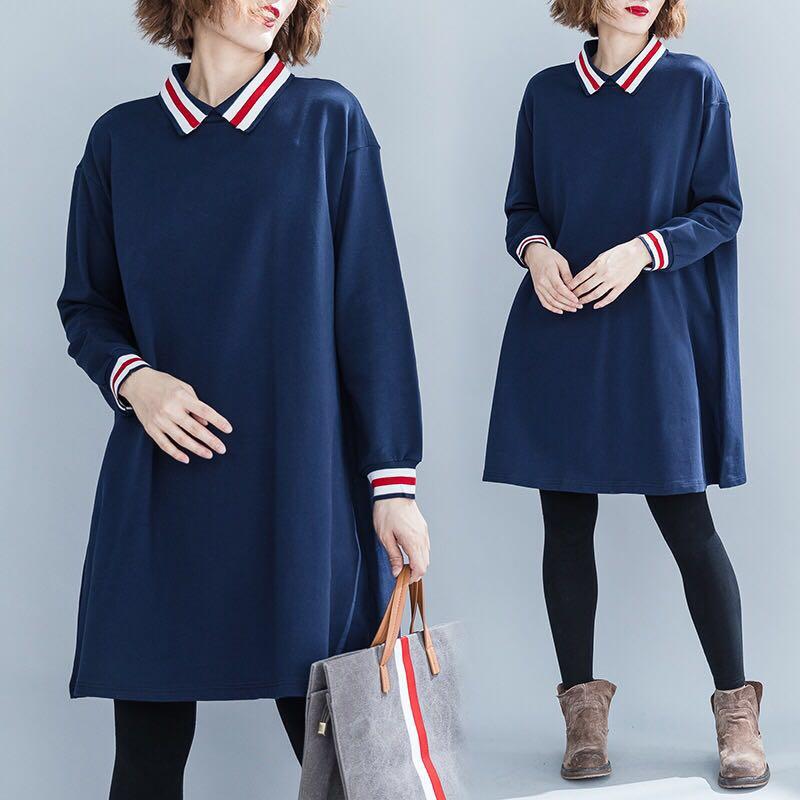 11c14af3e0b Plus size long knit sweater contrast color dress