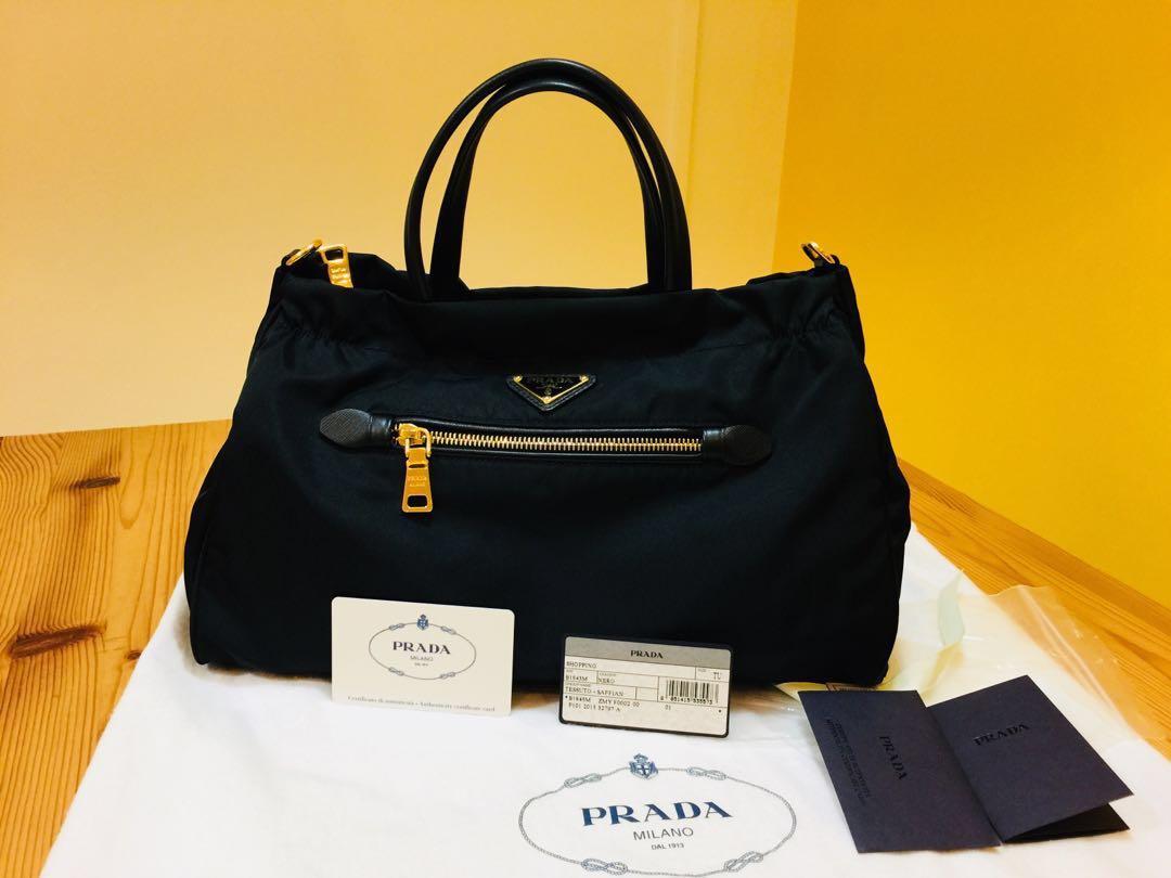 b1c7eb332823 Prada Nylon & Saffiano Leather Bag- Black, Luxury, Bags & Wallets ...