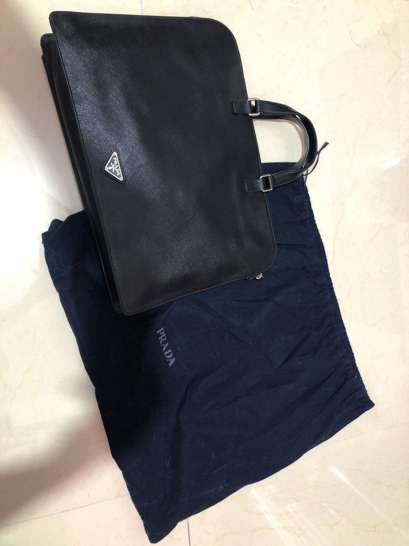 d2b08de32e74 Prada Saffiano Travel Vr0023 Nero Leather Laptop Bag