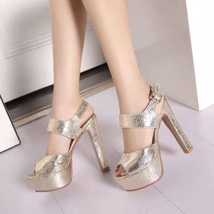 00841819edb6 Size 32-43 Peep Toes Chunky High Heels