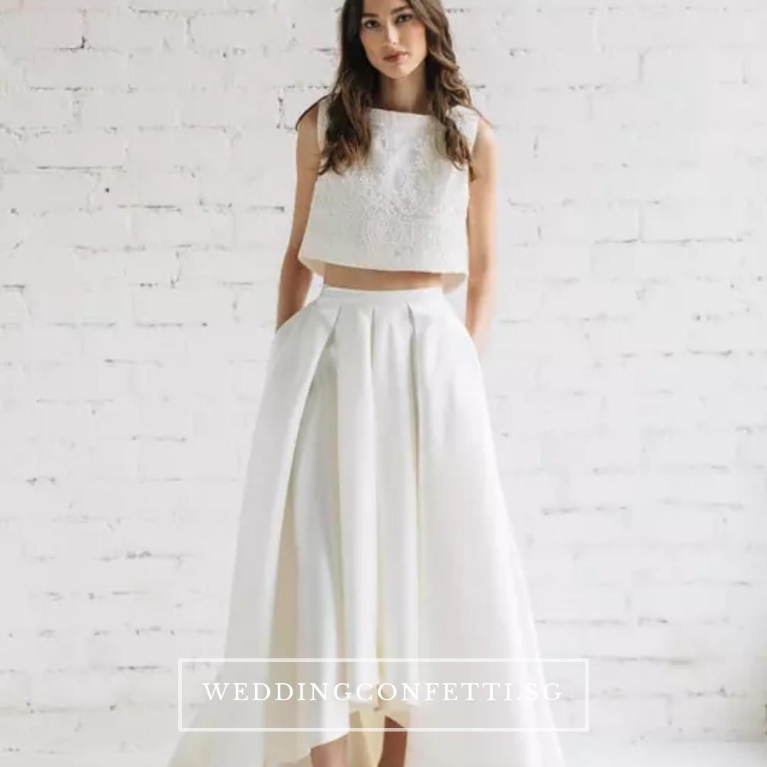 f207c1d55 Two Piece Sleeveless Crop Top Maxi Wedding Dress, Women's Fashion ...