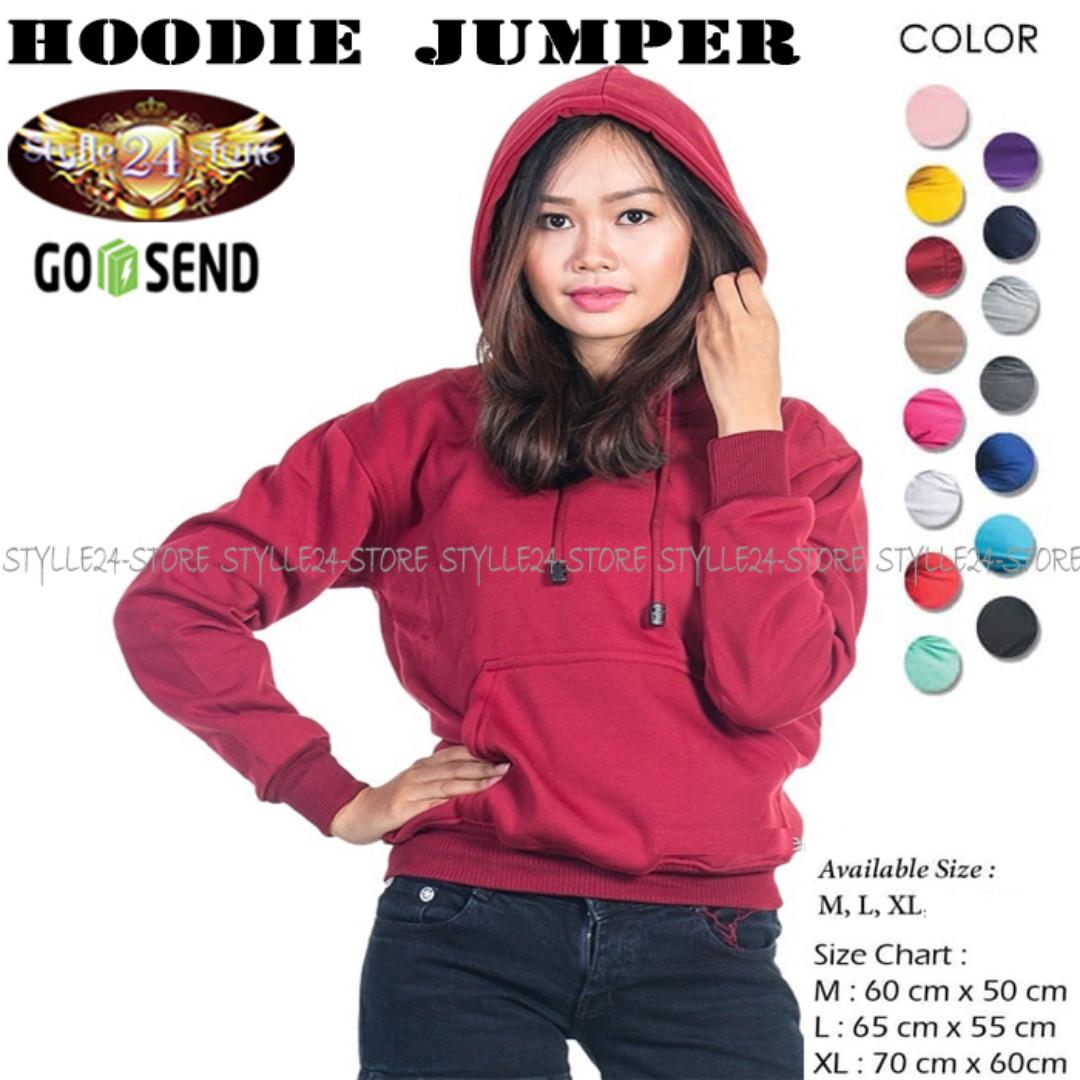 Sweater   Jaket Hoodie Jumper Polos Unisex Merah Maroon Pria   Wanita . 238fad15f8