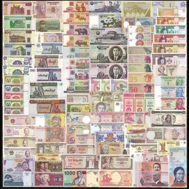 UNC 100PCS 35 COUNTRIES WORLD BANKNOTES SET GENUINE MONEY