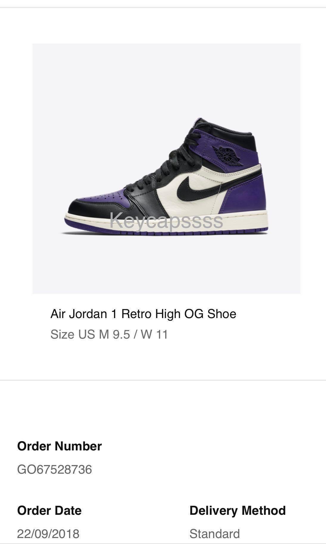 timeless design a9fa6 6cb84  US9.5  Nike Air Jordan 1 Court Purple., Men s Fashion, Footwear, Sneakers  on Carousell