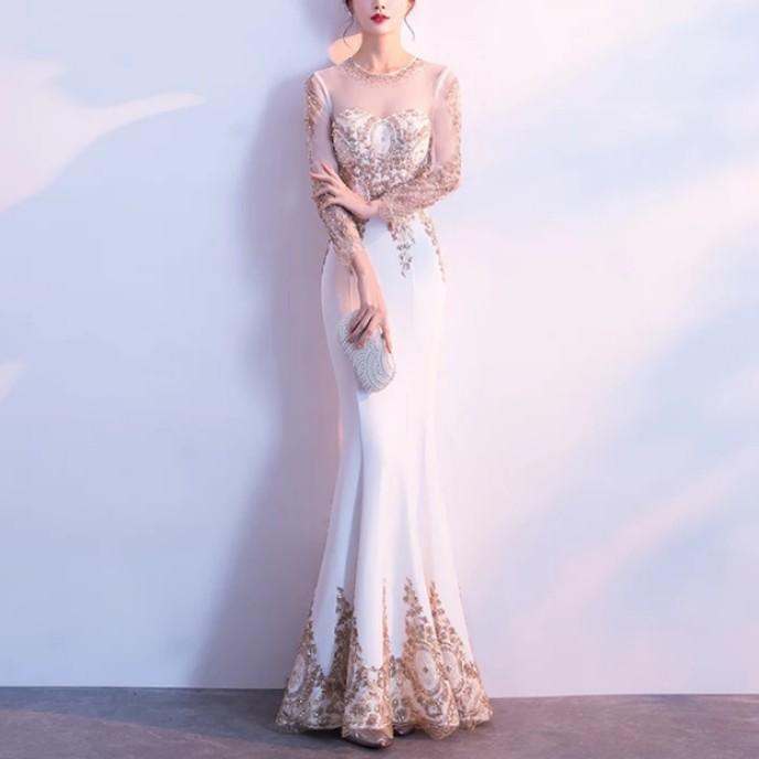 White and Gold Mermaid Dress