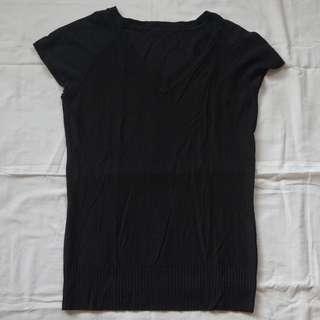 Black V-Neck Thermal Top