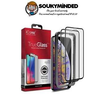 [IN-STOCK] iCarez [Full Coverage Tempered Glass + Tray Installation] Screen Protector for iPhone Xs Max 6.5-Inch 2018 (Case Friendly) Easy Apply [ 2-Pack 0.33MM 9H 2.5D]