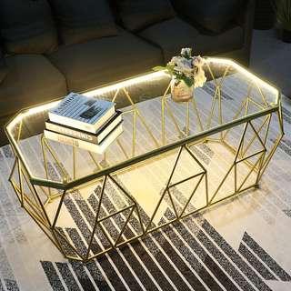 Creative Bold Geometric Tempered Glass Coffee Table