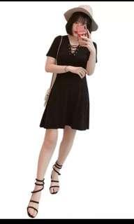 INSTOCK PLUS SIZE BLACK SHOELACE DRESS