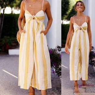 Brand new yellow front ribbon jumpsuit