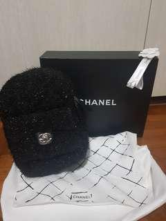 Black fluffy Chanel small backpack