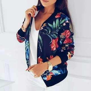 New Ladies Ribbed Trim Flower Print Bomber Jacket Women Autumn Printing Long Sleeve Casual Tops Zipper Jacket Outwear Loose Tops