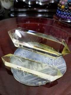 雙尖天然黃水晶柱