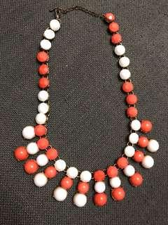Forever 21 enamel white and orange statement necklace