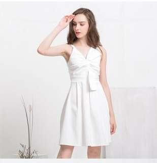 🚚 Keforie knotted front white ribbon dress